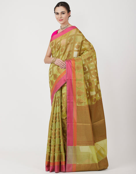 Pista Green Woven Cotton Saree