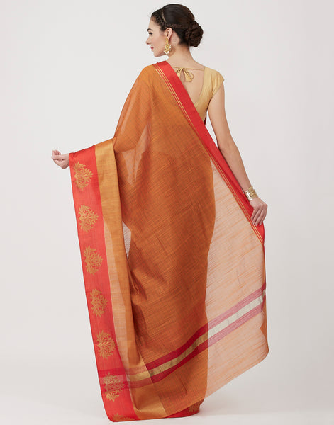 Mustard Woven Cotton Saree