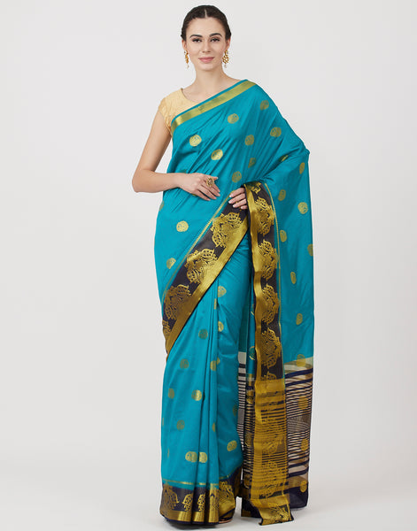 Lake Blue & Navy Woven Art Handloom Saree