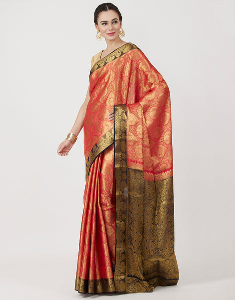 Red Navy Woven Art Handloom Saree
