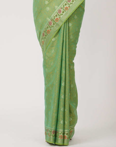 Green Woven Cotton Saree
