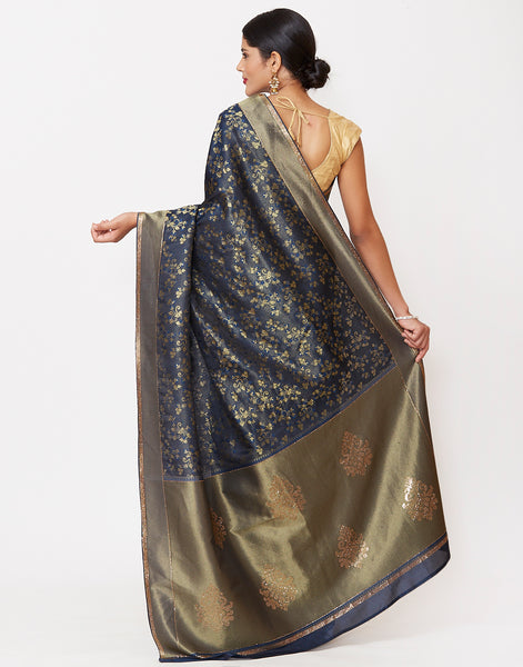 Peacock Blue Banarasi Handloom Saree