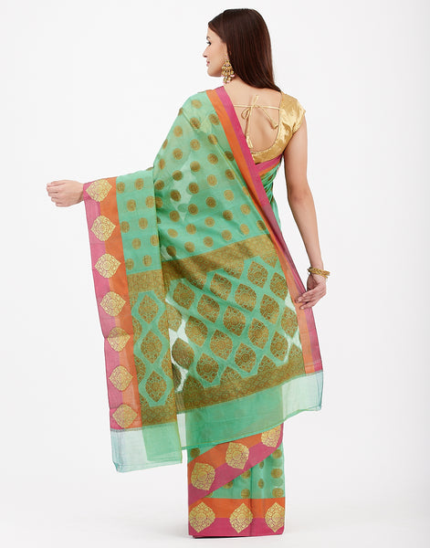 Sea Green Cotton Woven Saree