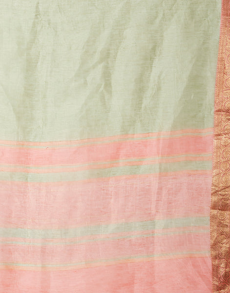 Pista Green Peach Cotton Woven Saree