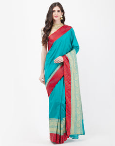Lake Blue Art Handloom Saree