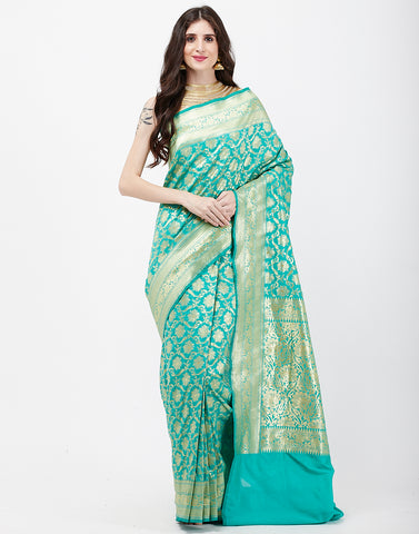 Sea Green Banarasi Woven Saree