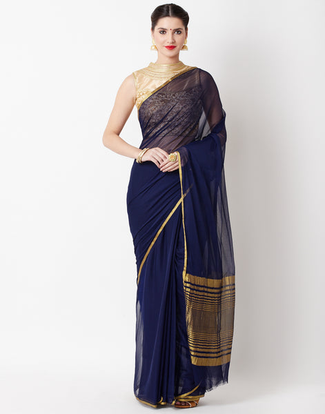 Navy Blue Art Chiffon Saree