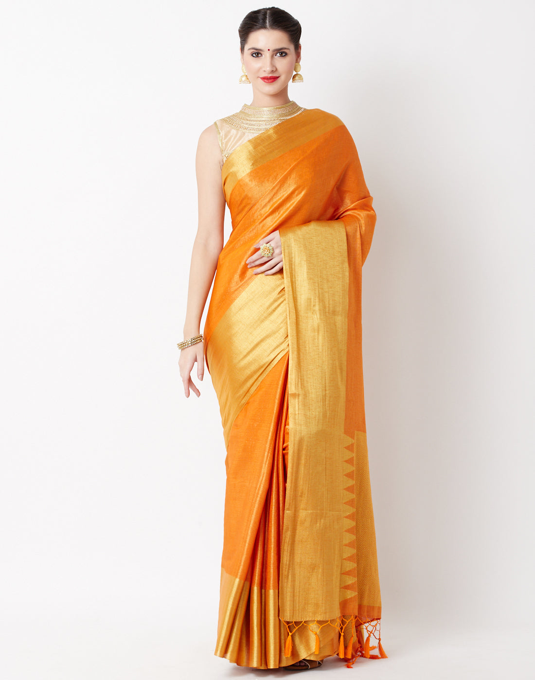 Orange Art Handloom Saree