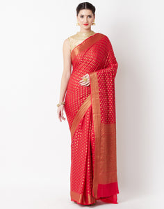 Hot Pink Art Georgette Saree