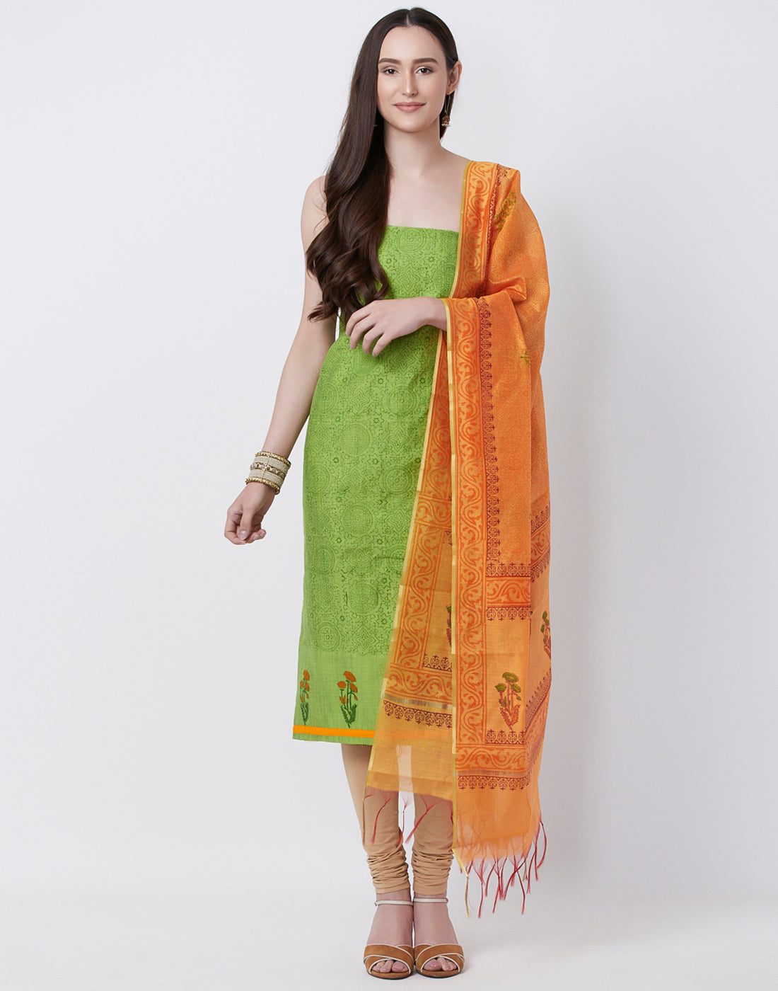 Pista Green Orange Cotton Chanderi Suit Set