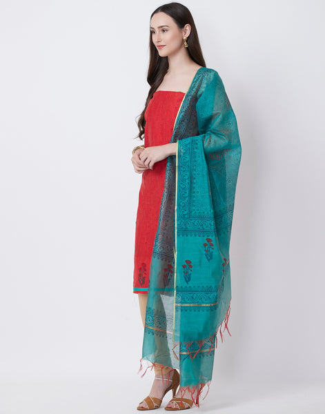Maroon Sea Green Cotton Chanderi Suit Set