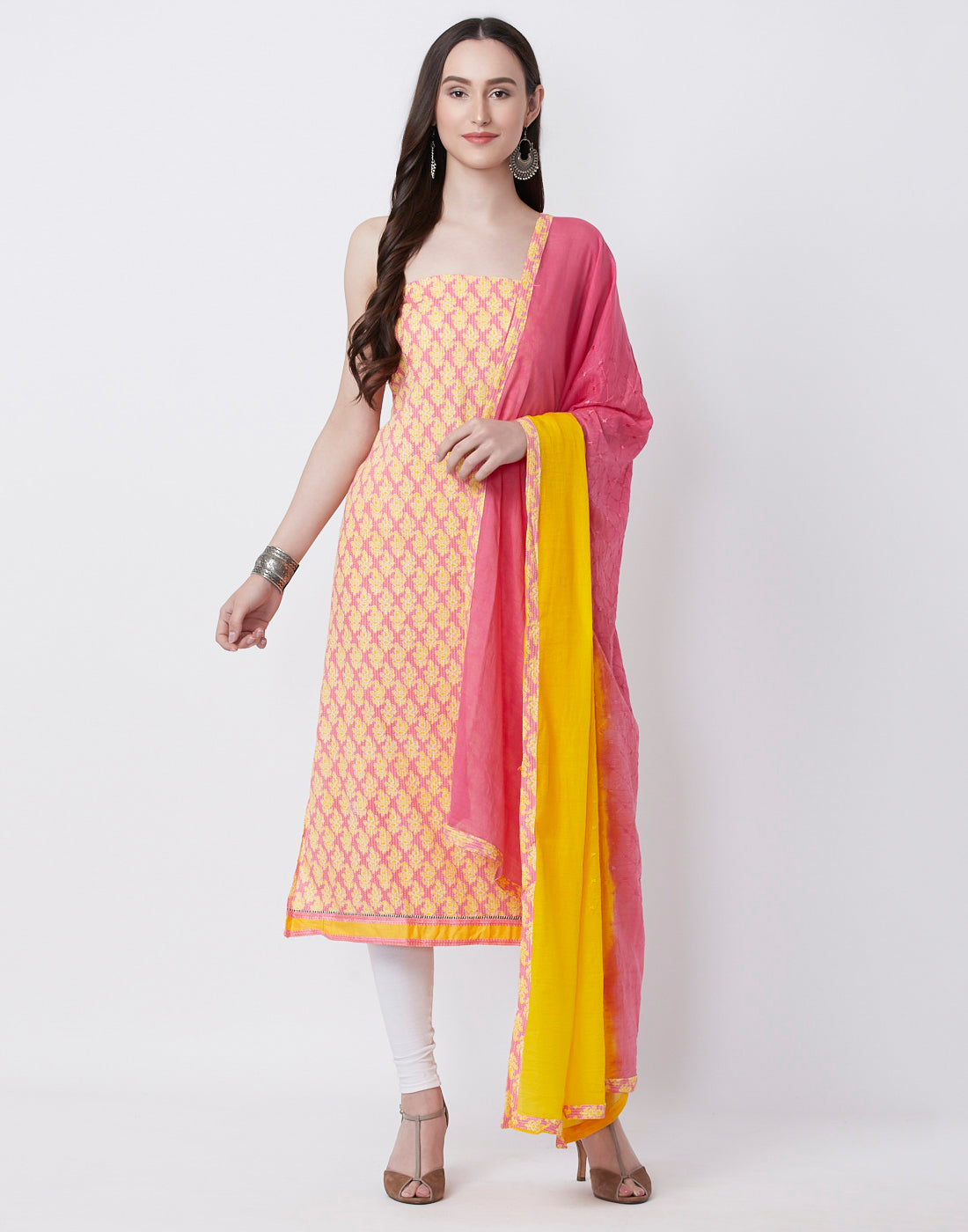 Pink Yellow Cotton Suit Set