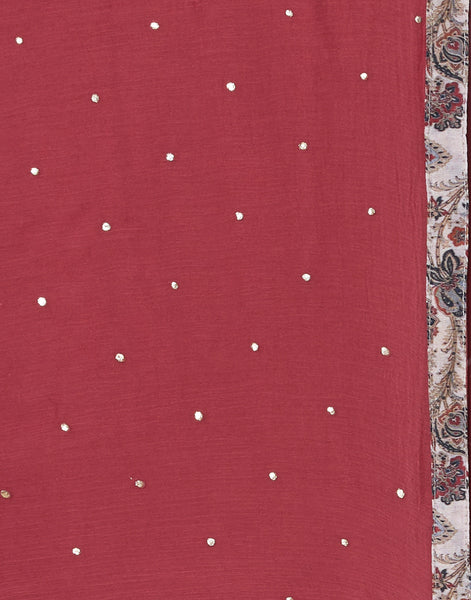 Beige Maroon Cotton Chanderi Suit Set