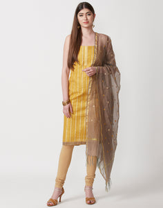 Mustard Cotton Chanderi Suit Set