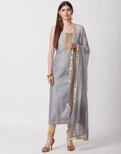 Grey Cotton Chanderi Suit Set