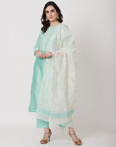 Sea Gren Cotton Chanderi Salwar Kameez