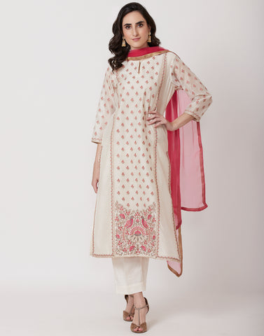 Cream Pink Cotton Chanderi Salwar Kameez