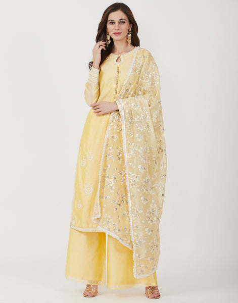 Lemon Cotton Chanderi Salwar Kameez