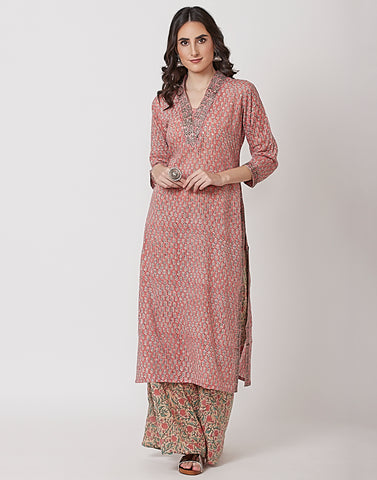 Hot Pink Cotton Kurti with Palazzo