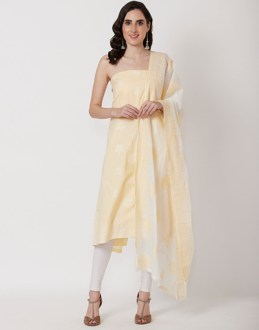 Lemon Cream Cotton Suit Set