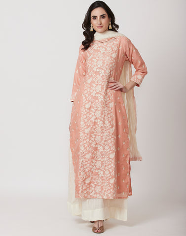 Peach Kota Cotton Salwar Kameez
