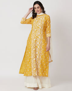 Mustard Cream Kota Cotton Salwar Kameez