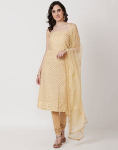Lemon Art Georgette Suit Set