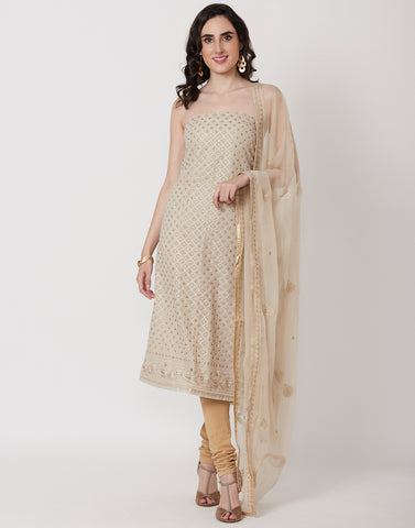 Beige Art Georgette Suit Set