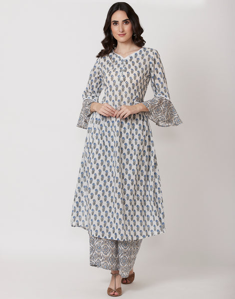 Cream Firozee Cotton Kurti with Palazzo