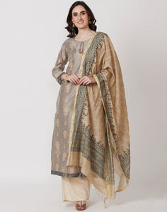 Grey Beige Cotton Chanderi Salwar Kameez