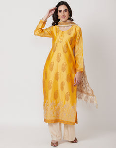Mango Yellow Cotton Chanderi Salwar Kameez
