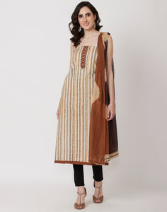 Brown Cream Cotton Suit Set
