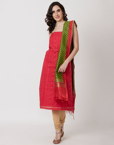 Red Mehndi Cotton Chanderi Suit Set