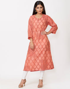 Peach Cotton Chanderi Kurti