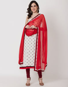 Cream Red Cotton Chanderi Suit Set