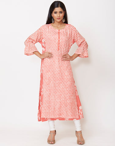 Cream Peach Cotton Kurti