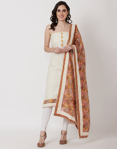 Cream Yellow Cotton Suit Set