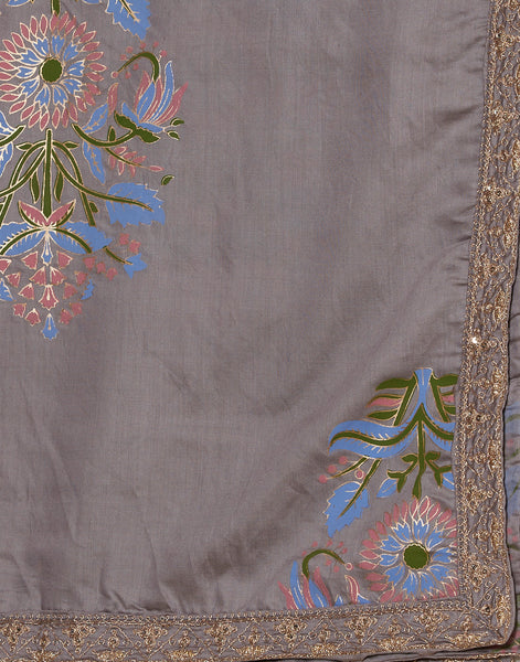 Coral Grey Cotton Chanderi Suit Set