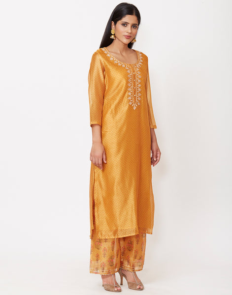 Mustard Cotton Chanderi Kurti with Palazzo