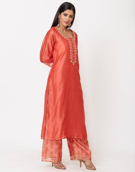 Coral Cotton Chanderi Kurti with Palazzo