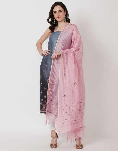 Grey Pink Cotton Suit Set