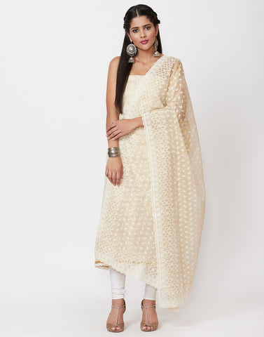 Beige Cream Cotton Kota Suit Set