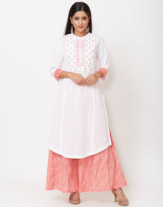 White Pink Cotton Kurti with Palazzo