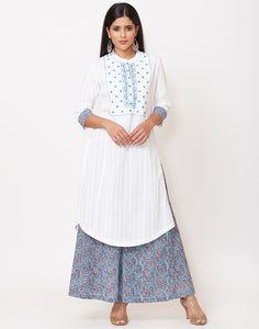 White Blue Cotton Kurti with Palazzo