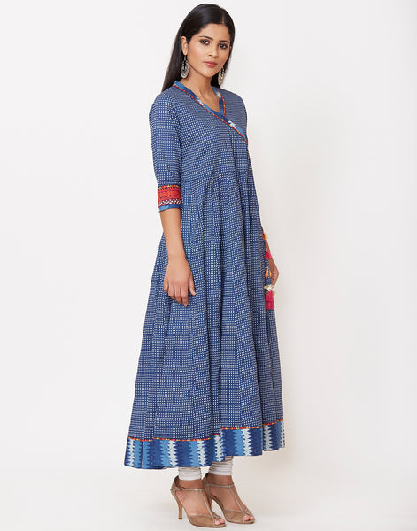Navy Blue Cotton Kurti