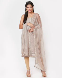 Grey Art Georgette Suit Set