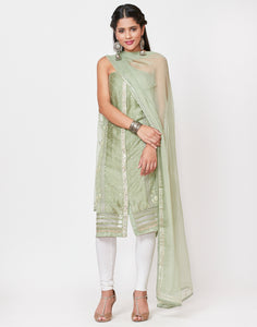 Green Art Georgette Suit Set