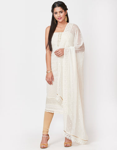 Cream Art Georgette Suit set