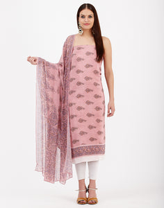 Peach Pink Art Chiffon Suit Set