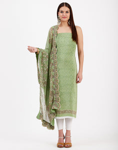 Pista Green Art Chiffon Suit Set